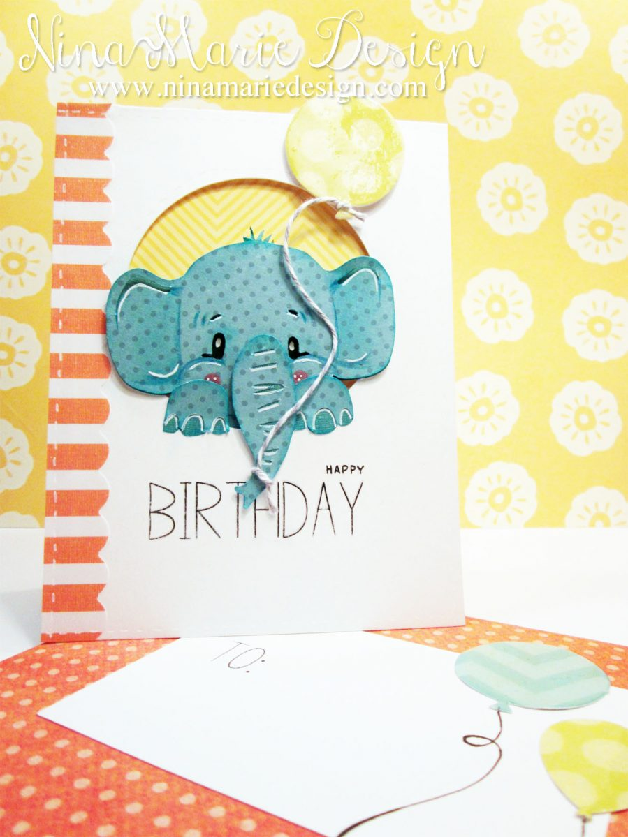 A Piece Of Yellow Patterned Paper Is Adhered Behind The Elephant With Foam Tape To Add Dimension I Also Cut Strip Orange And White Striped