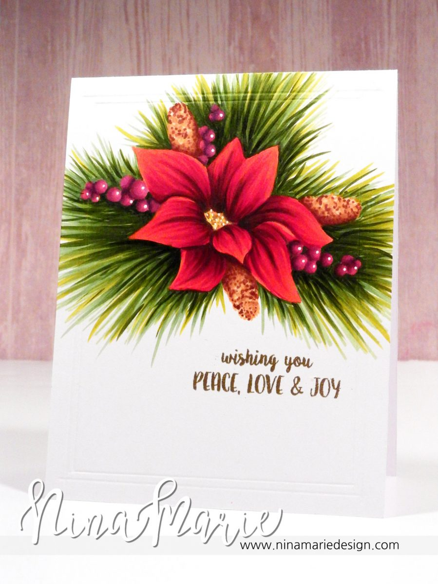 No Line Copic Coloring - Poinsettia Cluster_4a