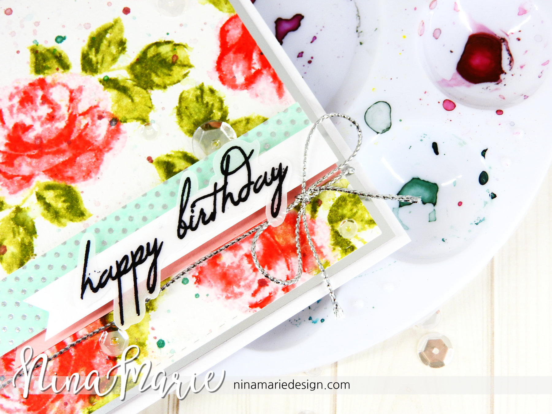 Faux Watercoloring Effect using Stamps | Nina-Marie Design