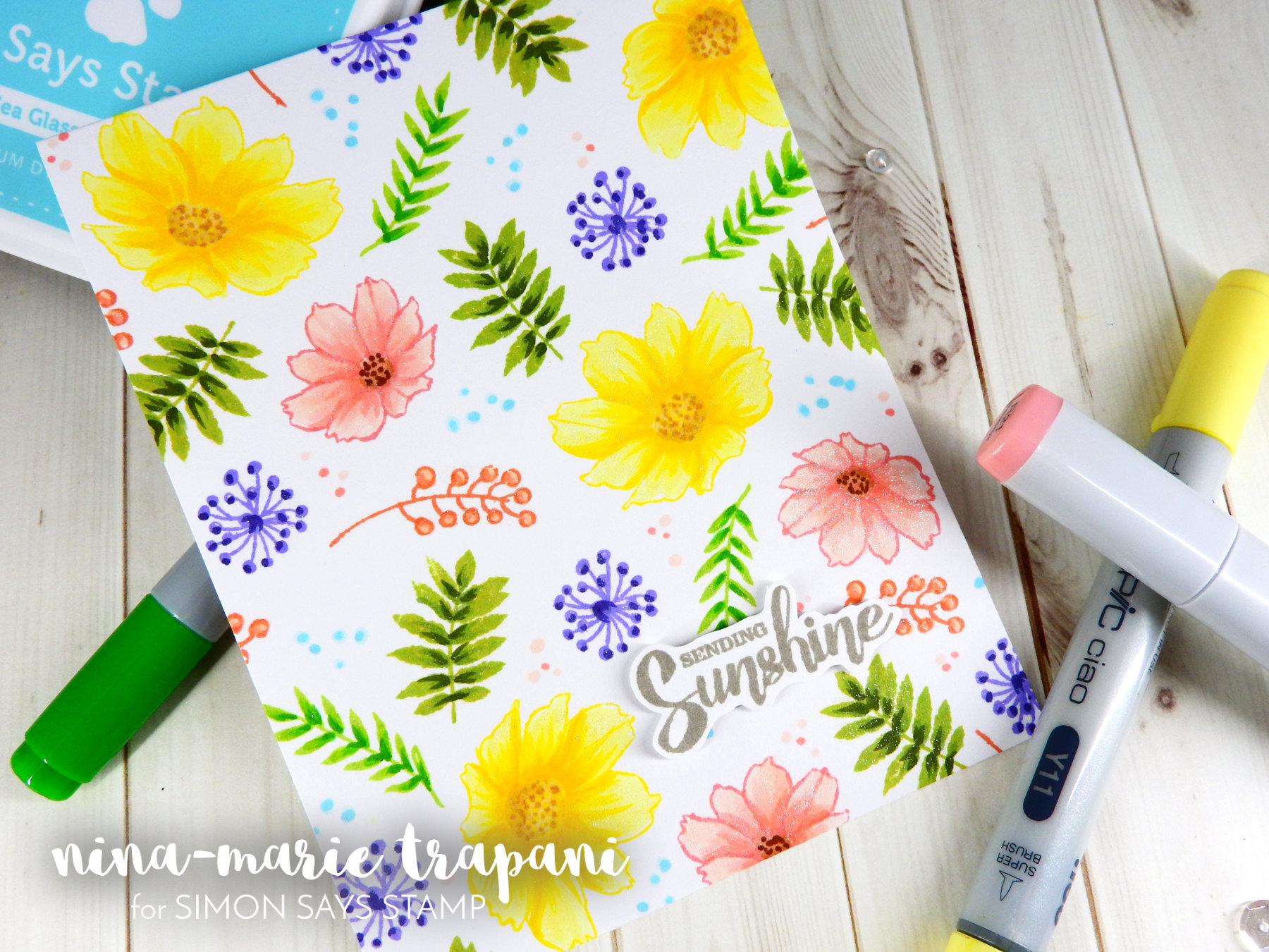 Watercolor Scene with Zig Markers + Simon's Masterpieces Collection Reveal | Nina-Marie Design