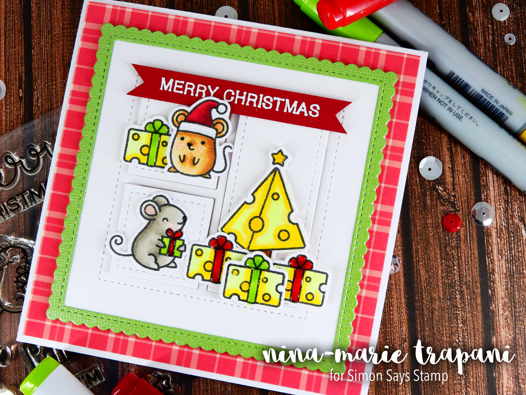 Light Up Card + Simon's Merry Christmouse Set Nina-Marie Design