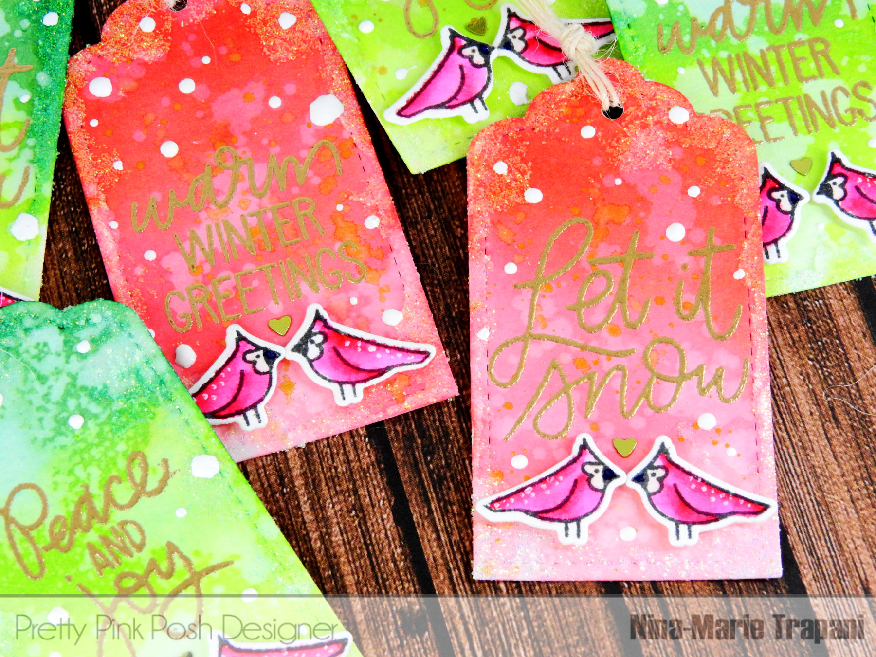 Ombre Watercolor Tags with Frosted Edges Nina-Marie Design