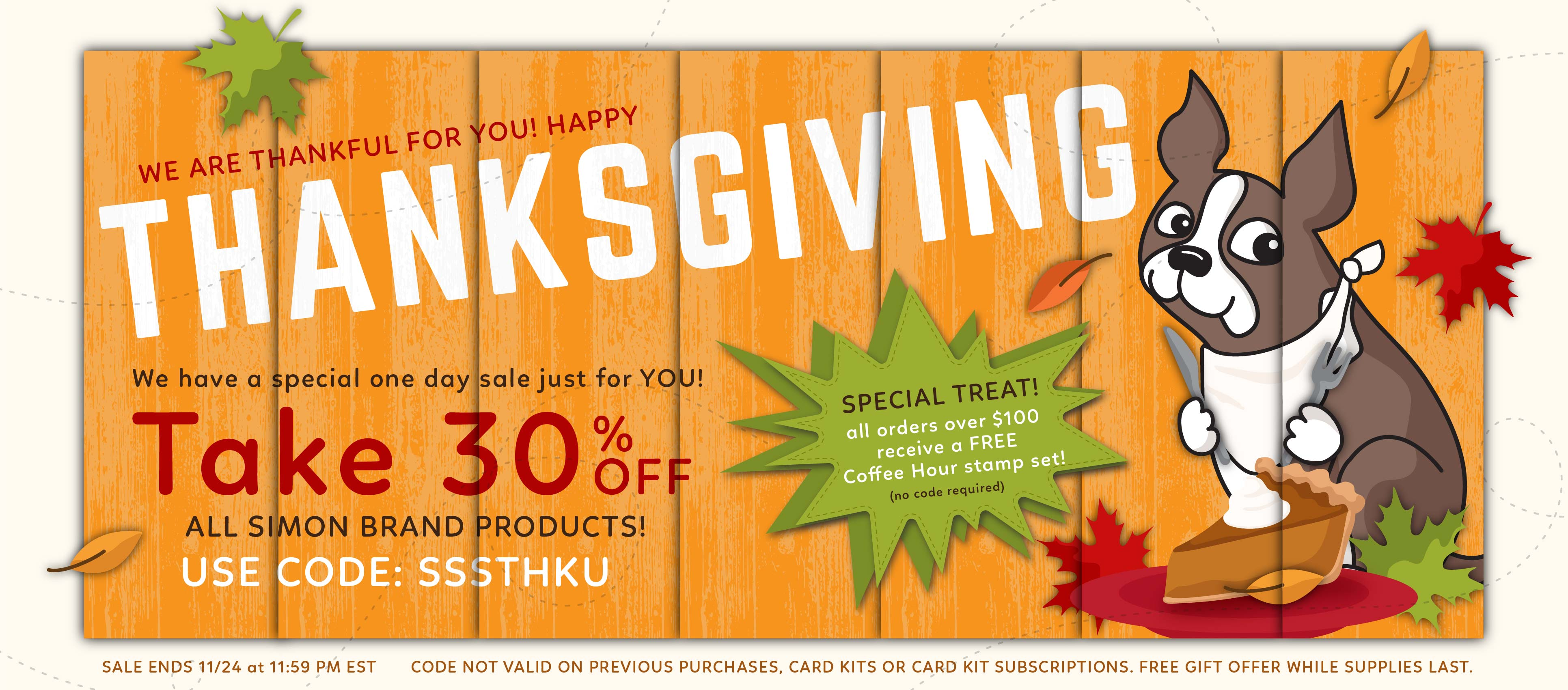 Thanksgiving Sale Free Gift Simon Says Stamp