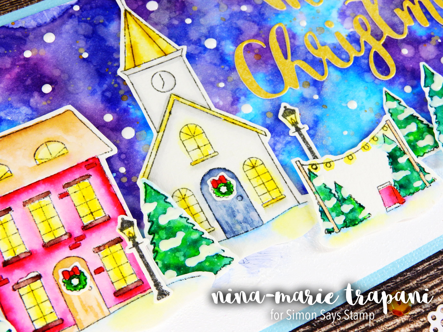 Watercolor Night Scene + Simon's Advent Plus Release Nina-Marie Design