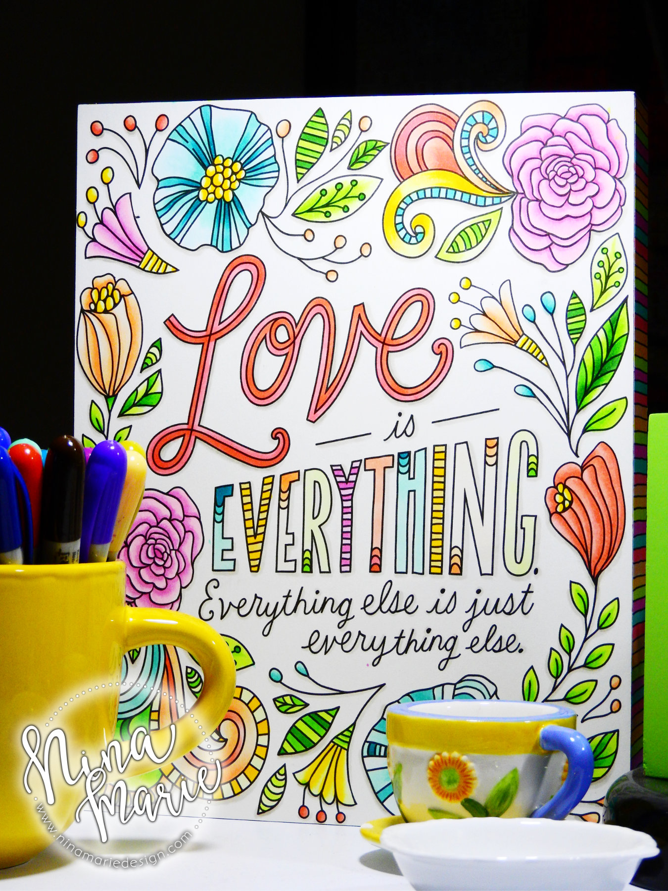 Copic Colored: Home Decor Coloring Plaque | Nina-Marie Design