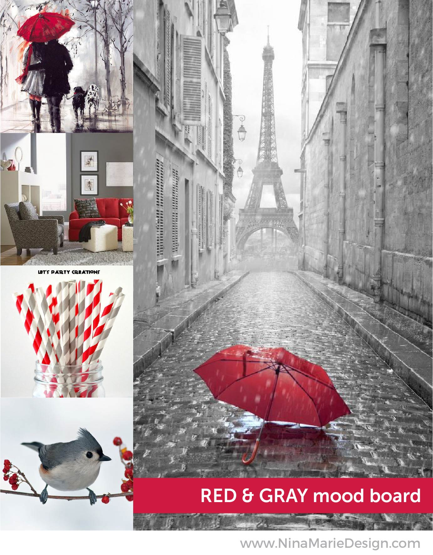 Red & Gray Color Mood Board | Nina-Marie Design