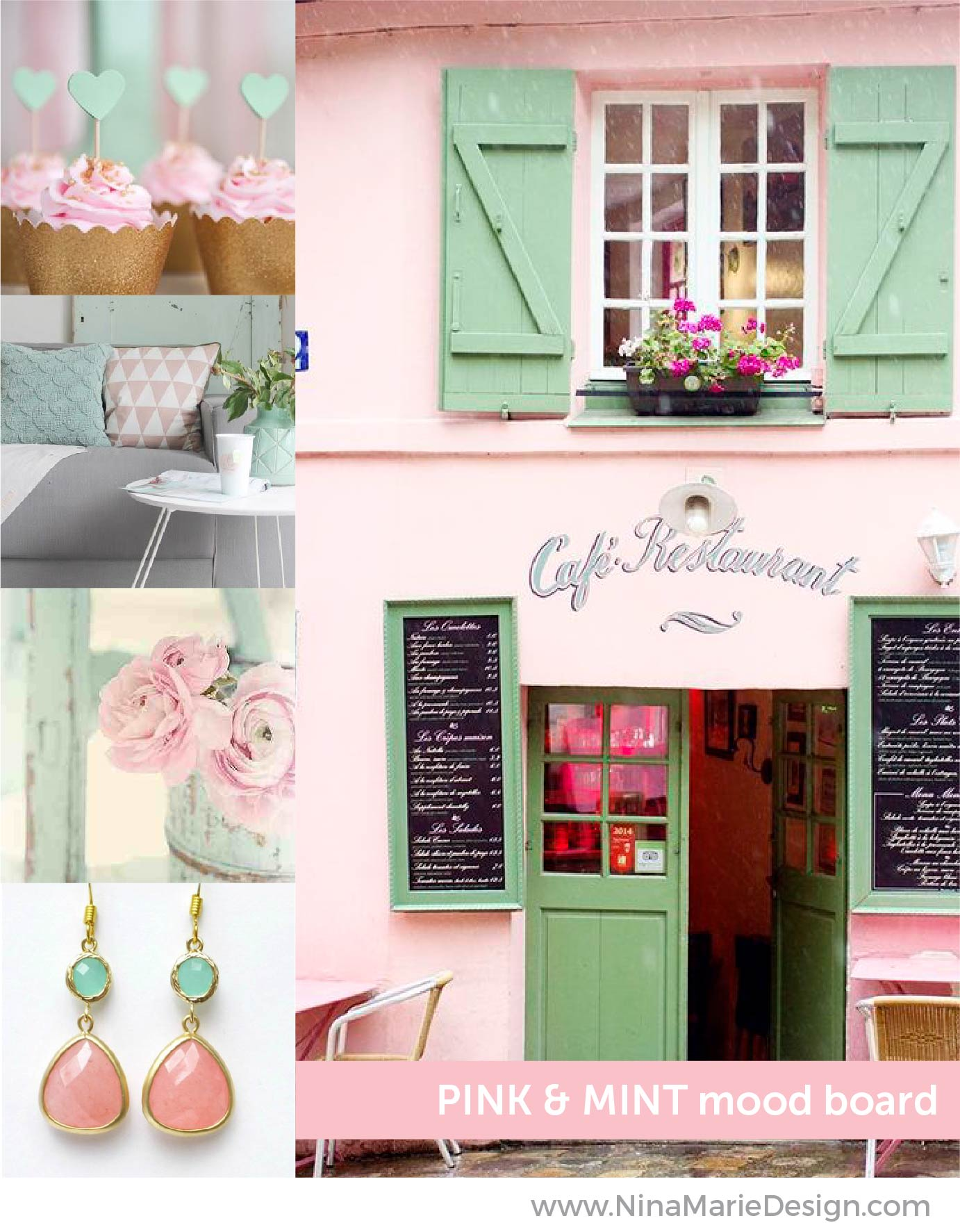 Pink and Mint Mood Board | Nina-Marie Design