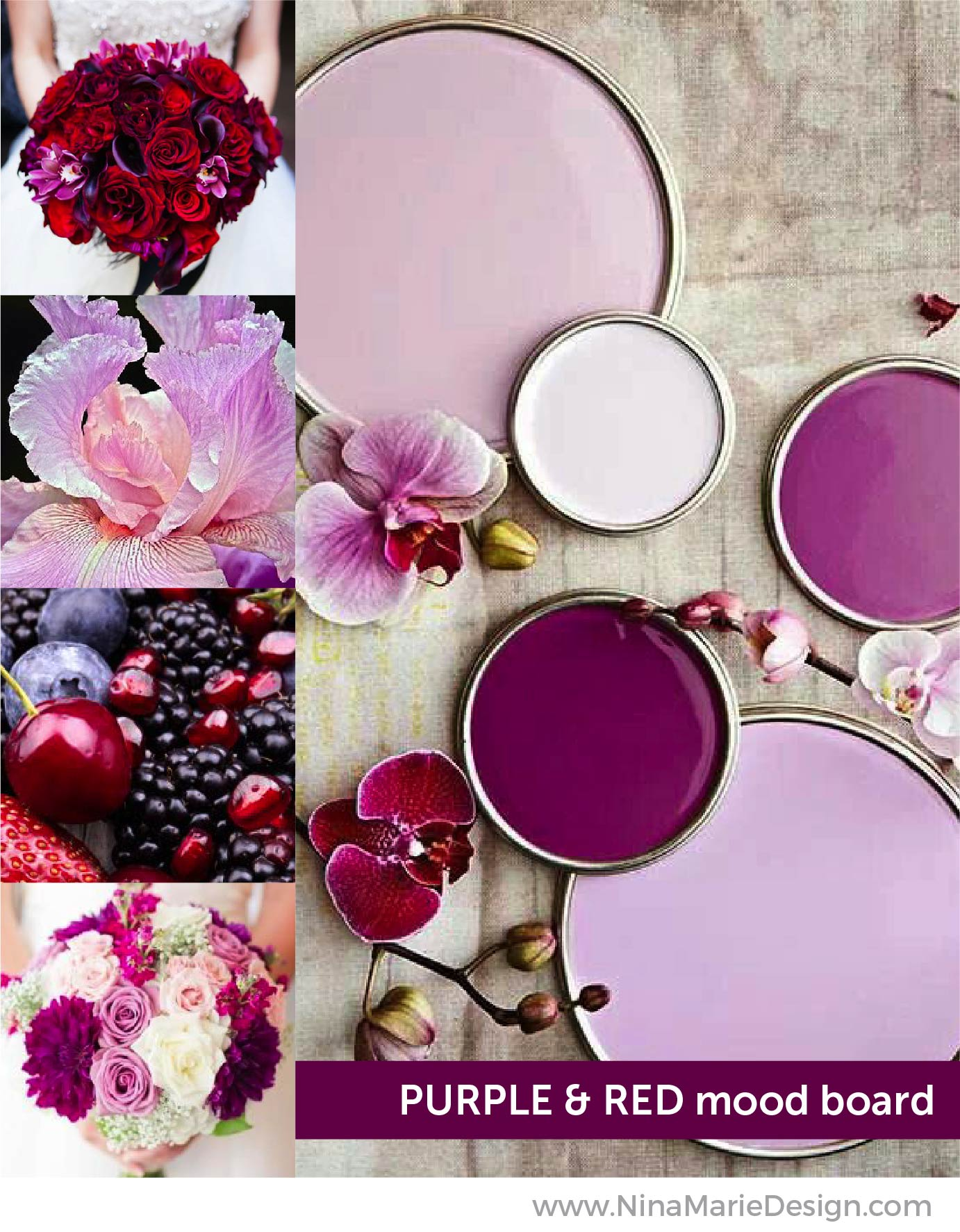 Purple and Red Mood Board | Nina-Marie Design