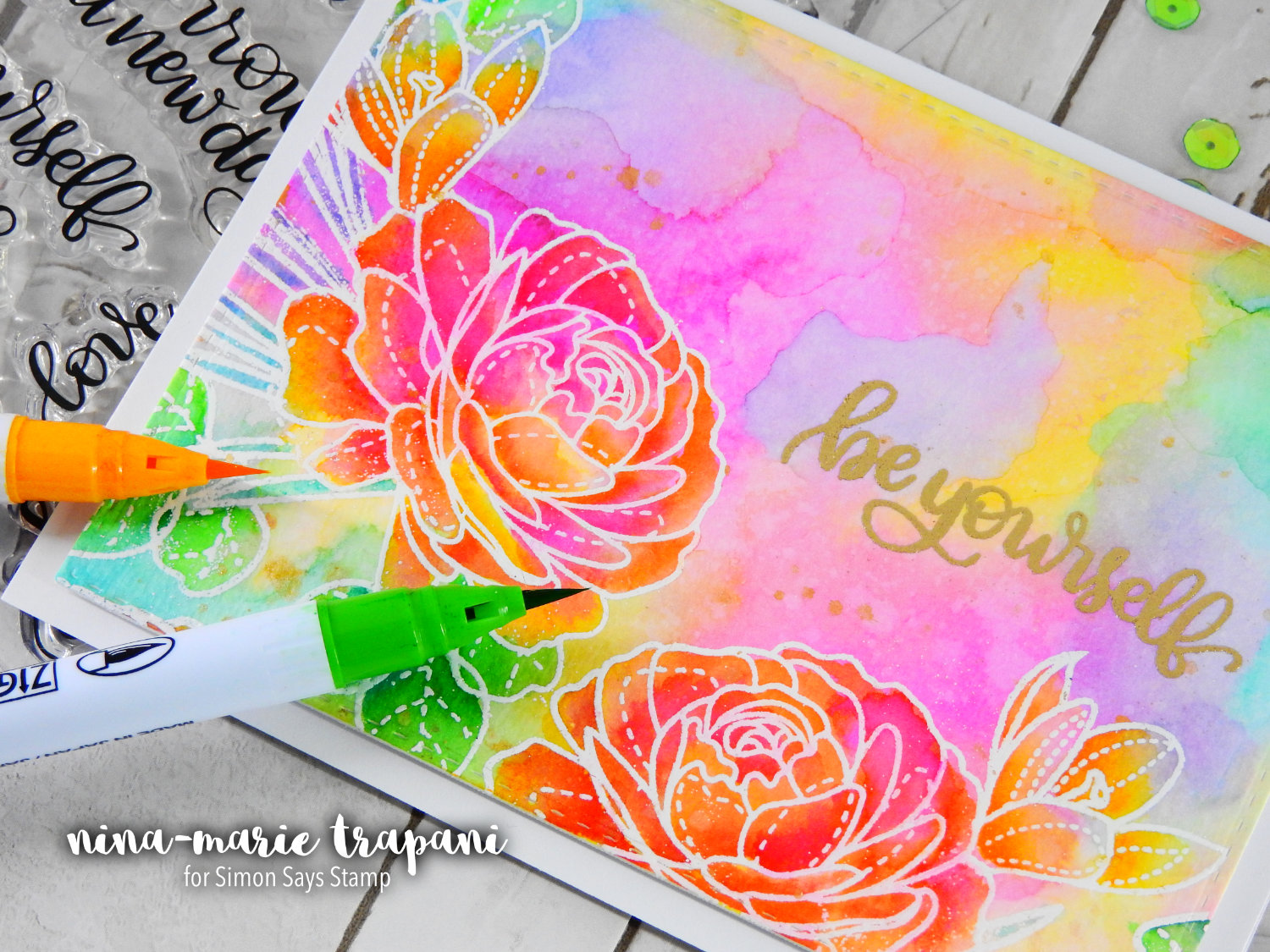Fun with Watercolor + Simon Says Stamp New Beginnings Release | Nina-Marie Design
