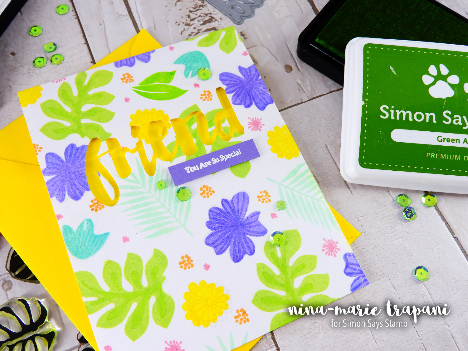 Stamp Layering with Pantone Green | Nina-Marie Design