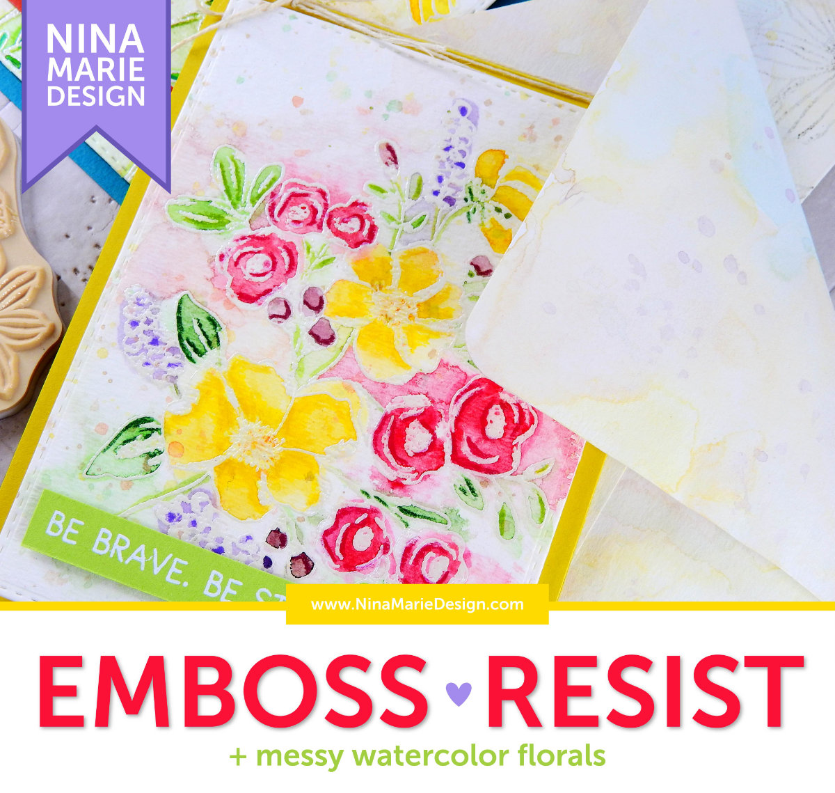 Emboss Resist + Messy Watercolor Florals | Nina-Marie Design