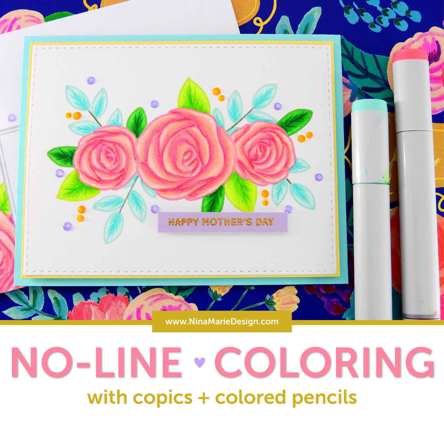 No Line Coloring with Copics and Colored Pencils | Nina-Marie Design