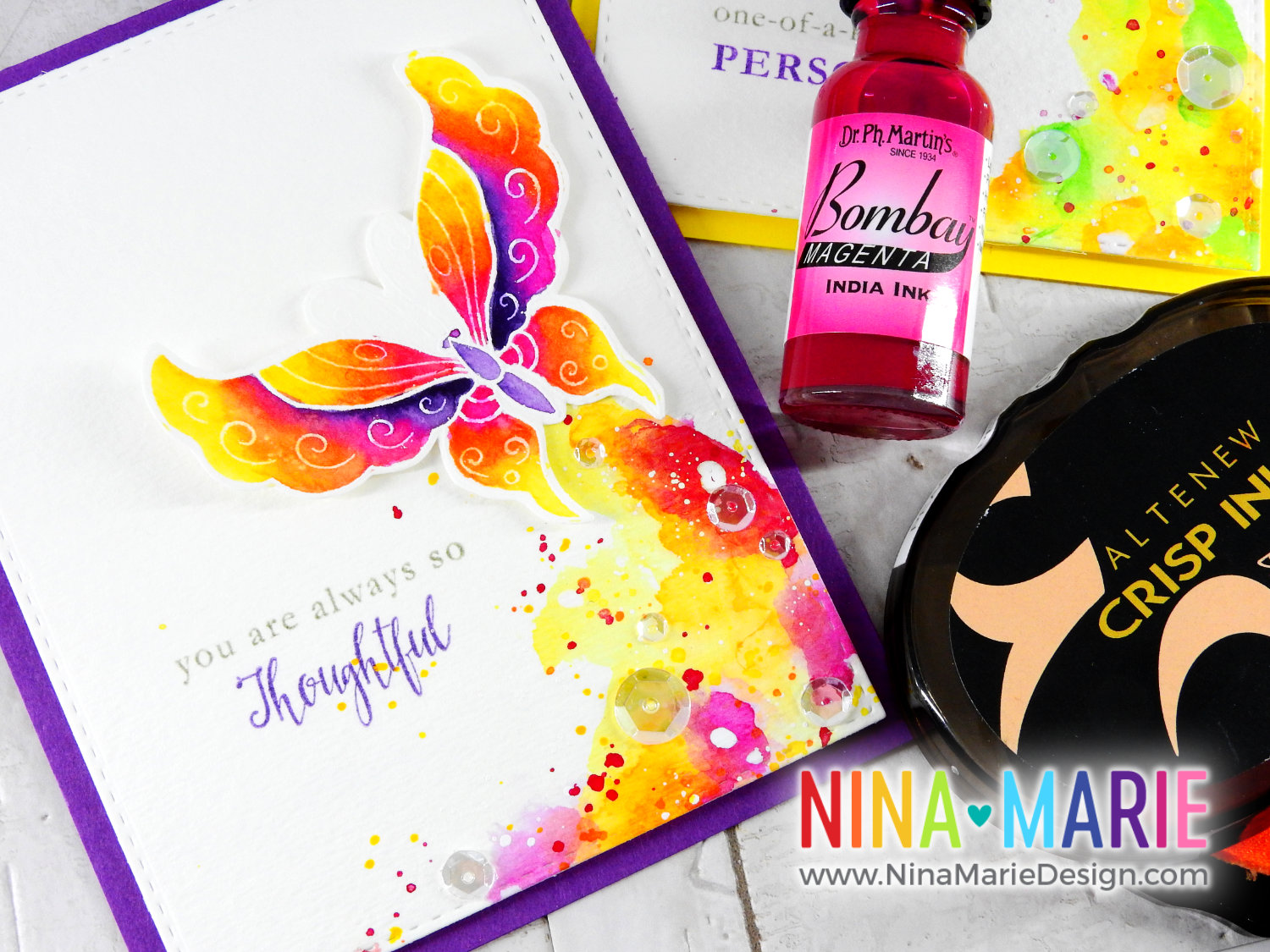 India Ink Watercolor with PH Martin Inks + Altenew 3rd Anniversary Hop | Nina-Marie Design