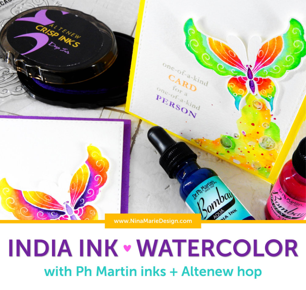 India Ink Watercolor with PH Martin Inks + Altenew 3rd Anniversary Hop