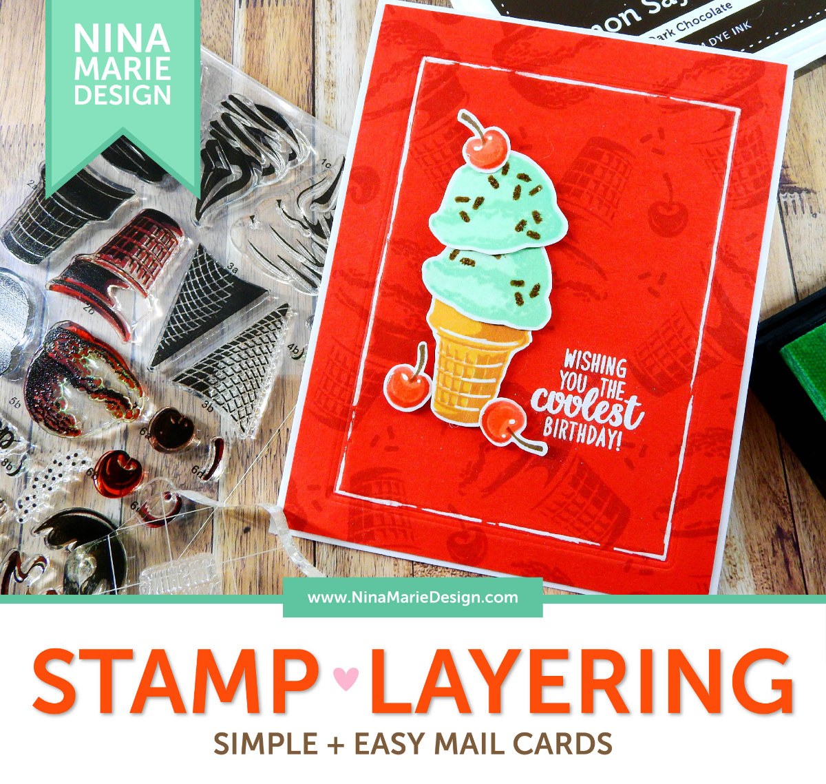 Easy Mail Stamp Layering 2 Ways | Nina-Marie Design