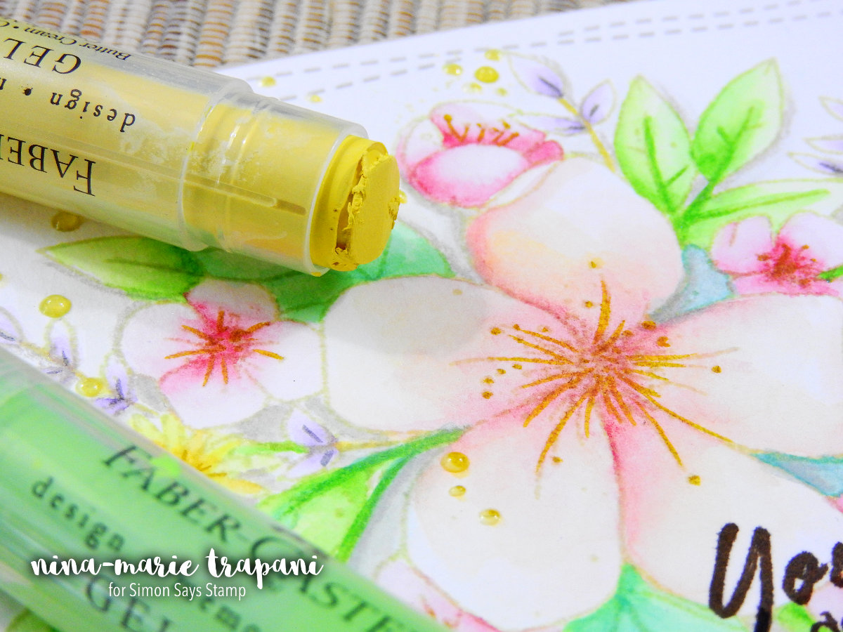 Line Watercoloring with Faber Castell Gelatos | Nina-Marie Design