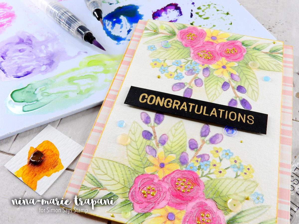 Watercolor + Pearlized Accents + Simon's June Card Kit | Nina-Marie Design