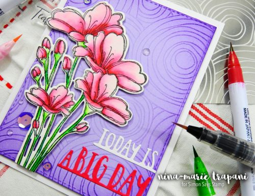 Embossing Plate Background + Two Color Watercolor + Simon Hop