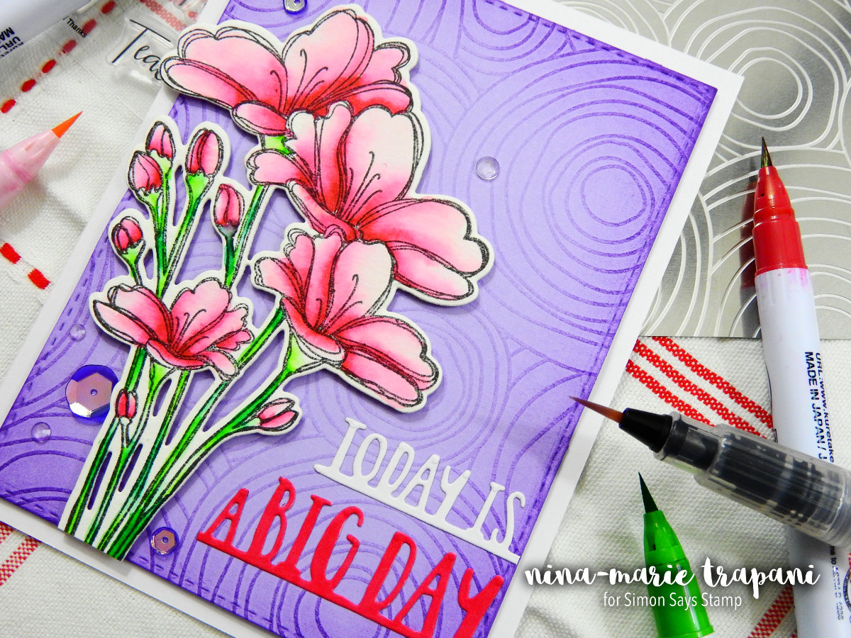 Embossing Plate Background + Two Color Watercolor + Simon Hop | Nina-Marie Design