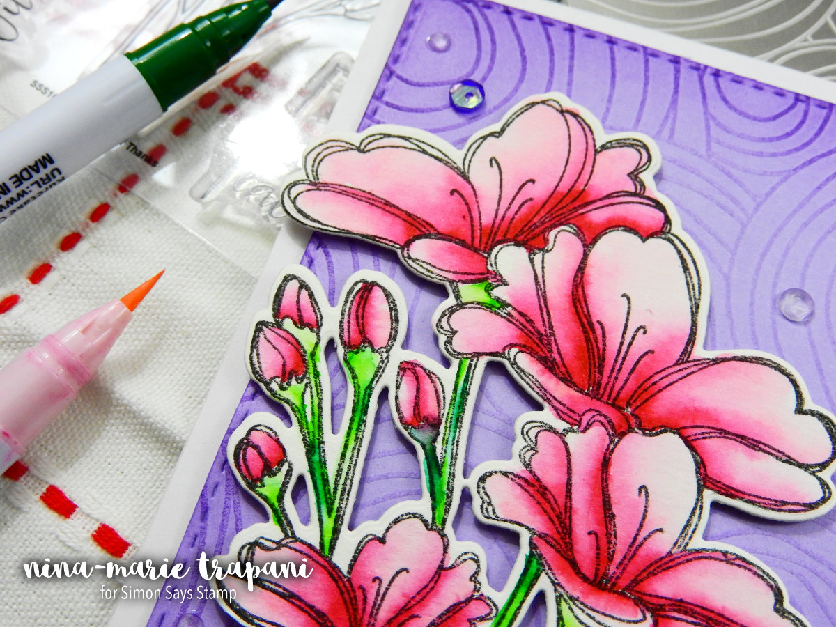Embossing Plate Background + Two Color Watercolor + Simon Hop   Nina-Marie Design