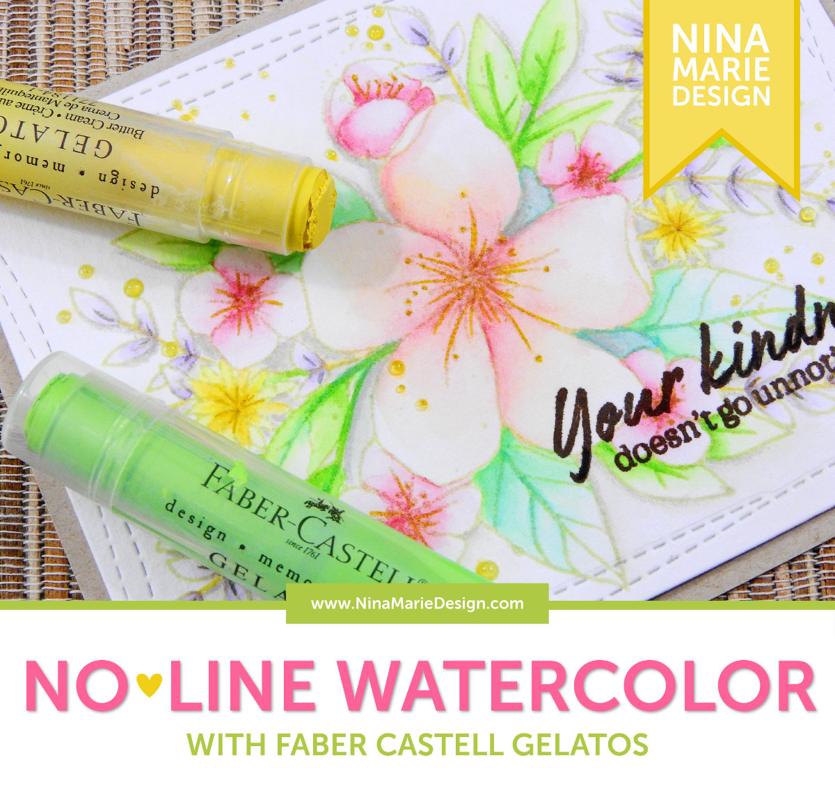 No Line Watercolor with Gelatos | Nina-Marie Design