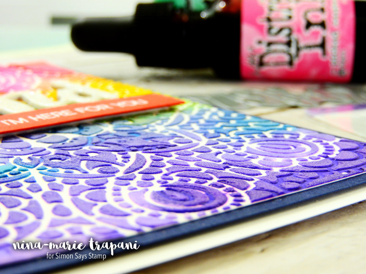 Dimensional Background with Distress Ink Refills + Embossing Paste | Nina-Marie Design