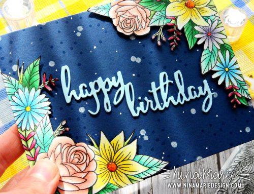 Copic Coloring + Floral Birthday Card