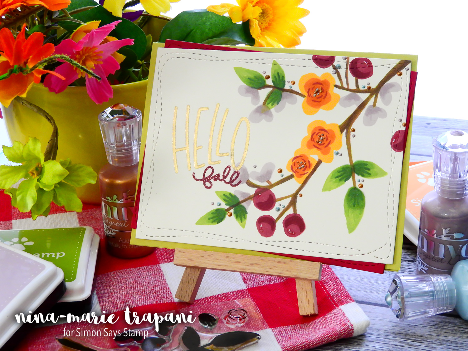 Studio Monday with Nina-Marie: Stretching Spring Stamps for a Fall Card | Nina-Marie Design