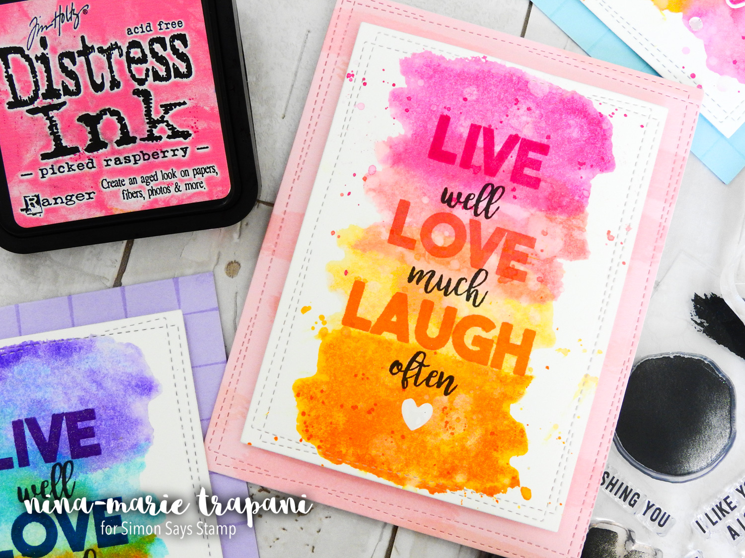 Distress Ink Watercolor Stamping + Simon's Concord & 9th STAMPtember Exclusive | Nina-Marie Design