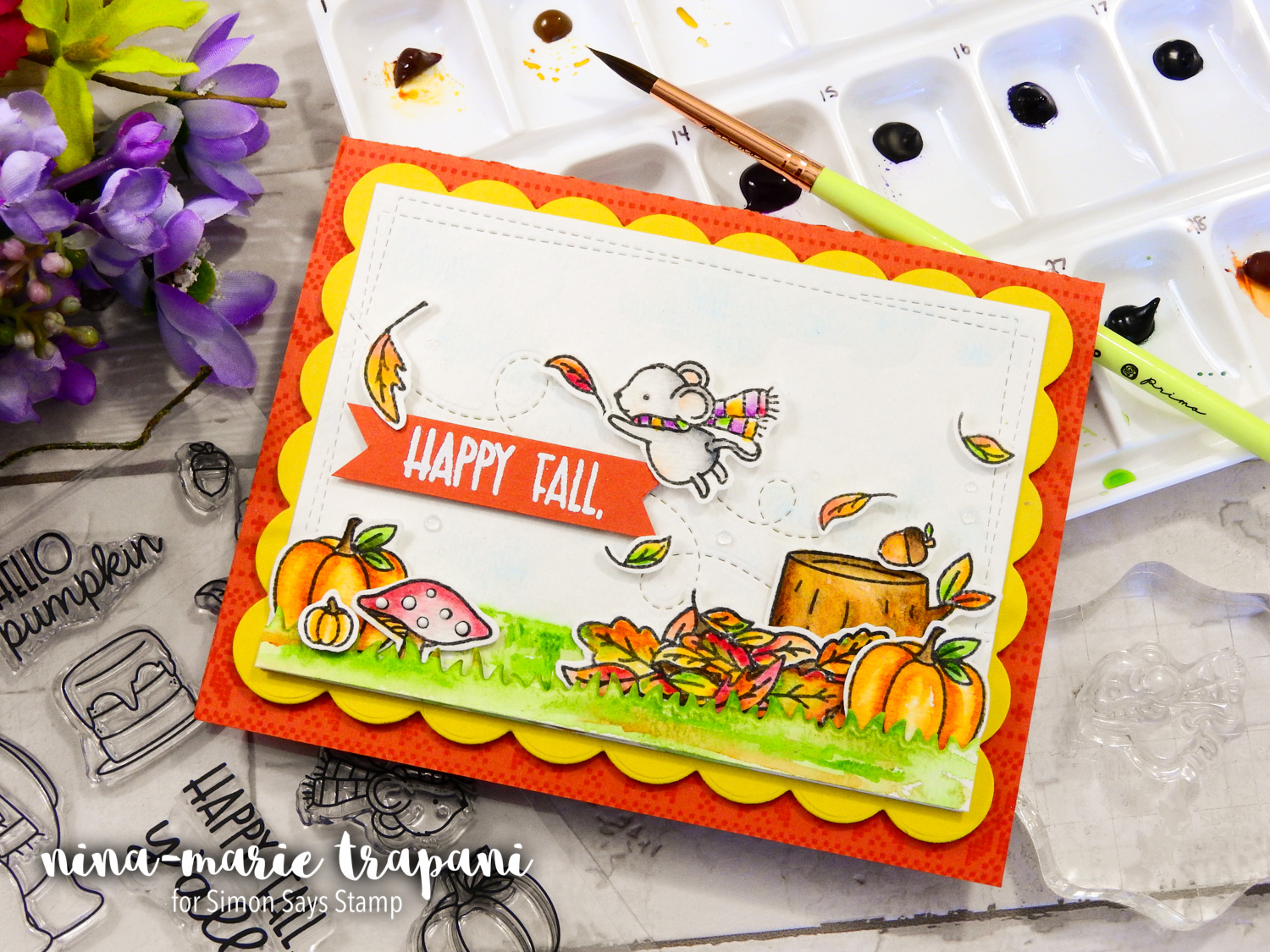 Watercoloring Fall Scene + Simon's Neat & Tangled STAMPtember Exclusive | Nina-Marie Design