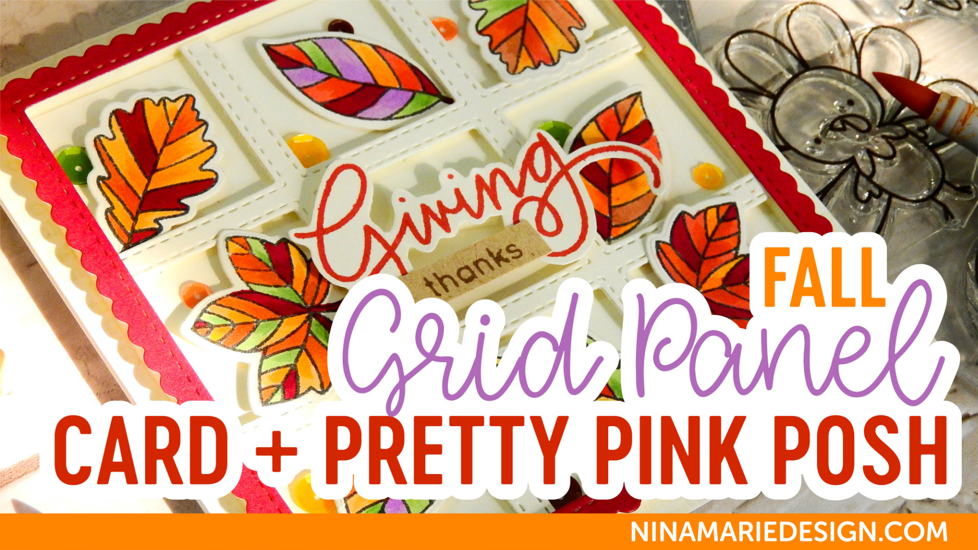 Fall Grid Panel Card + Pretty Pink Posh September Release Blog Hop | Nina-Marie Design