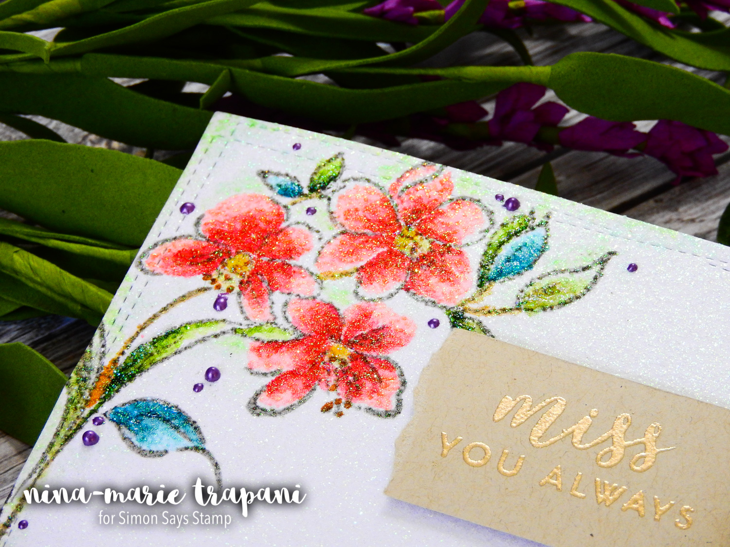 Coloring on Glitter Cardstock + Simon's Altenew STAMPtember Exclusive | Nina-Marie Design