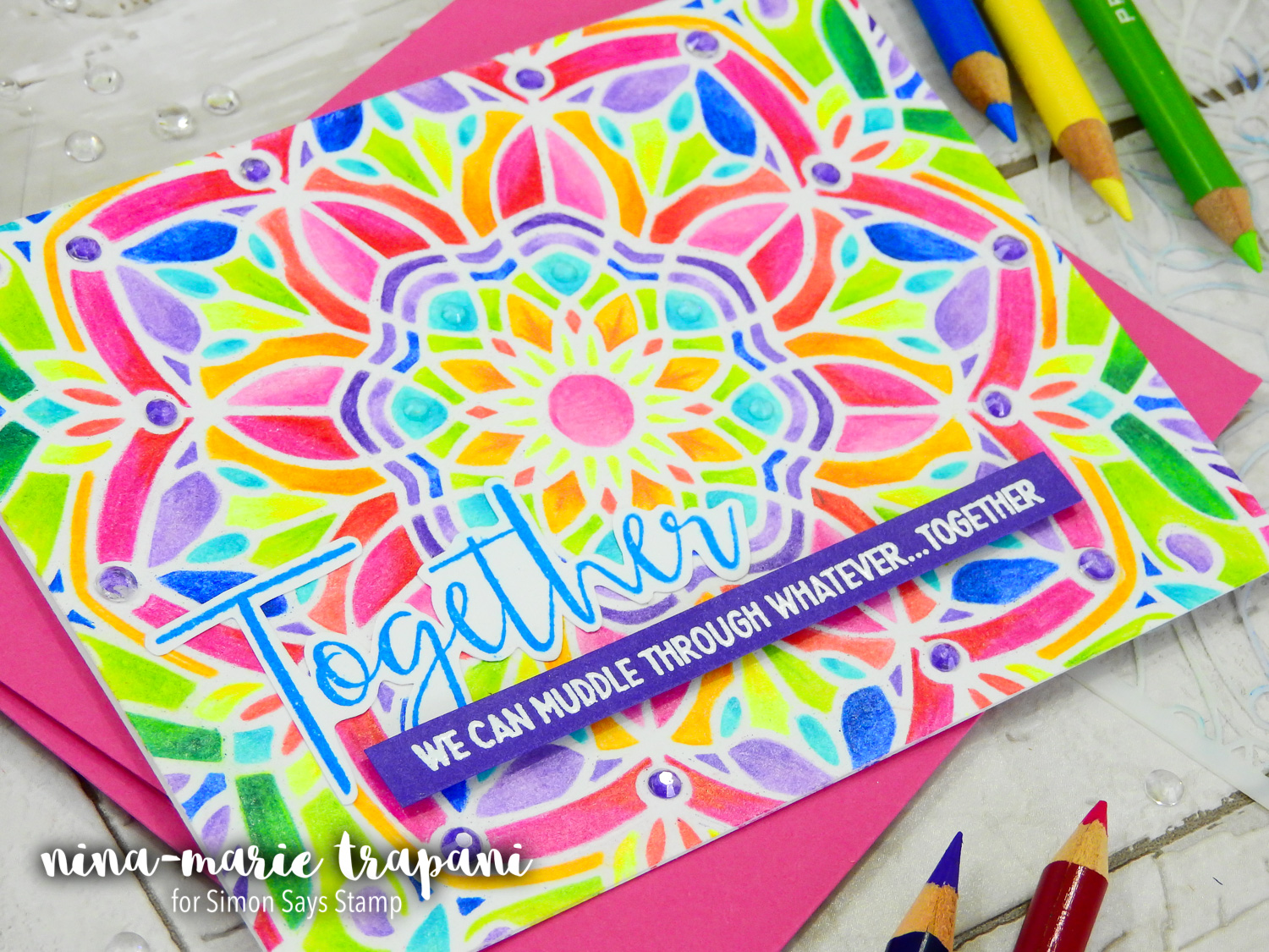 Colored Pencils + Stencils + Simon's STAMPtember Release Blog Hop | Nina-Marie Design