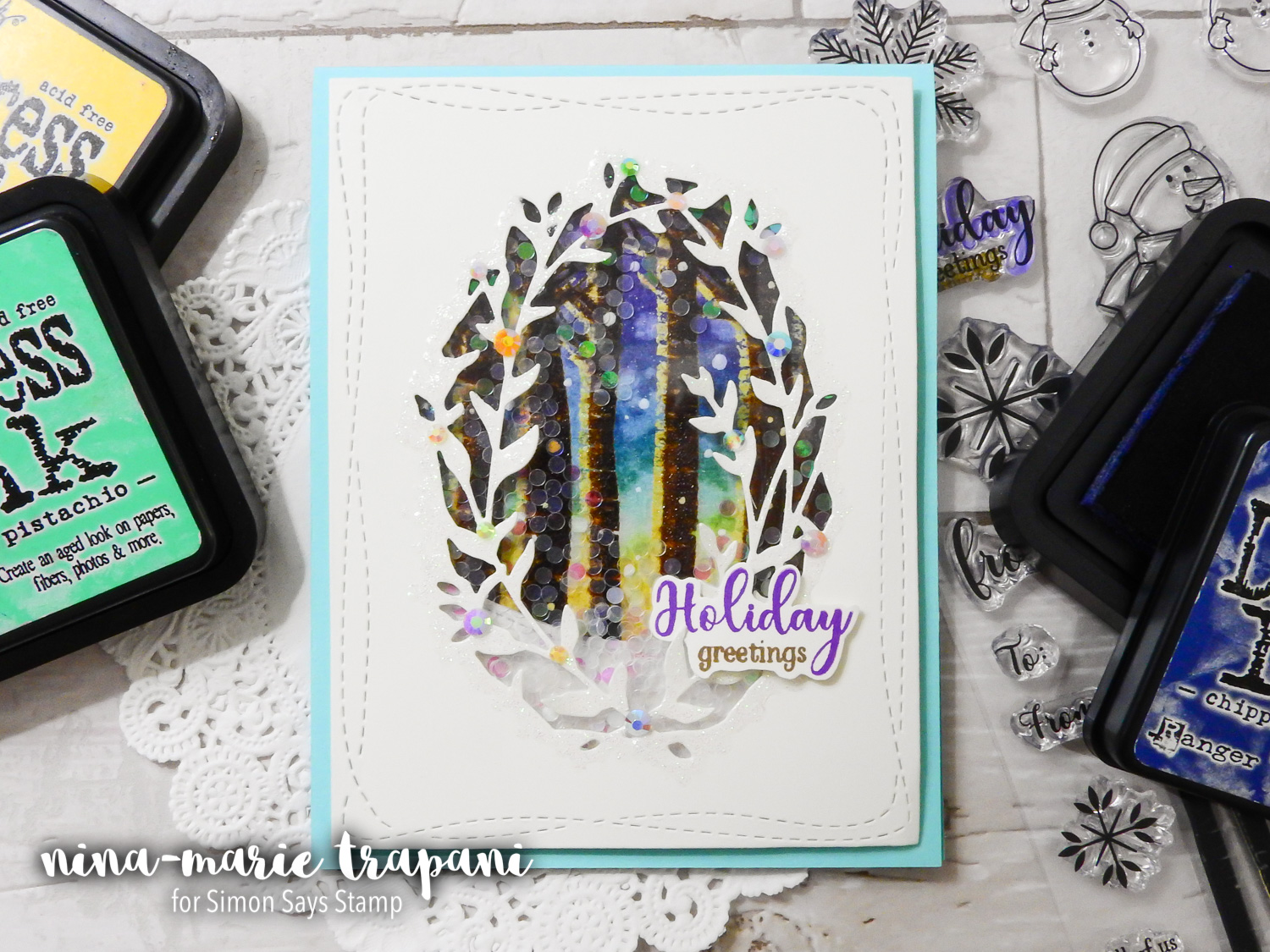 Distress Ink Shaker Scene + Simon's STAMPtember Gina K. Designs Exclusive | Nina-Marie Design