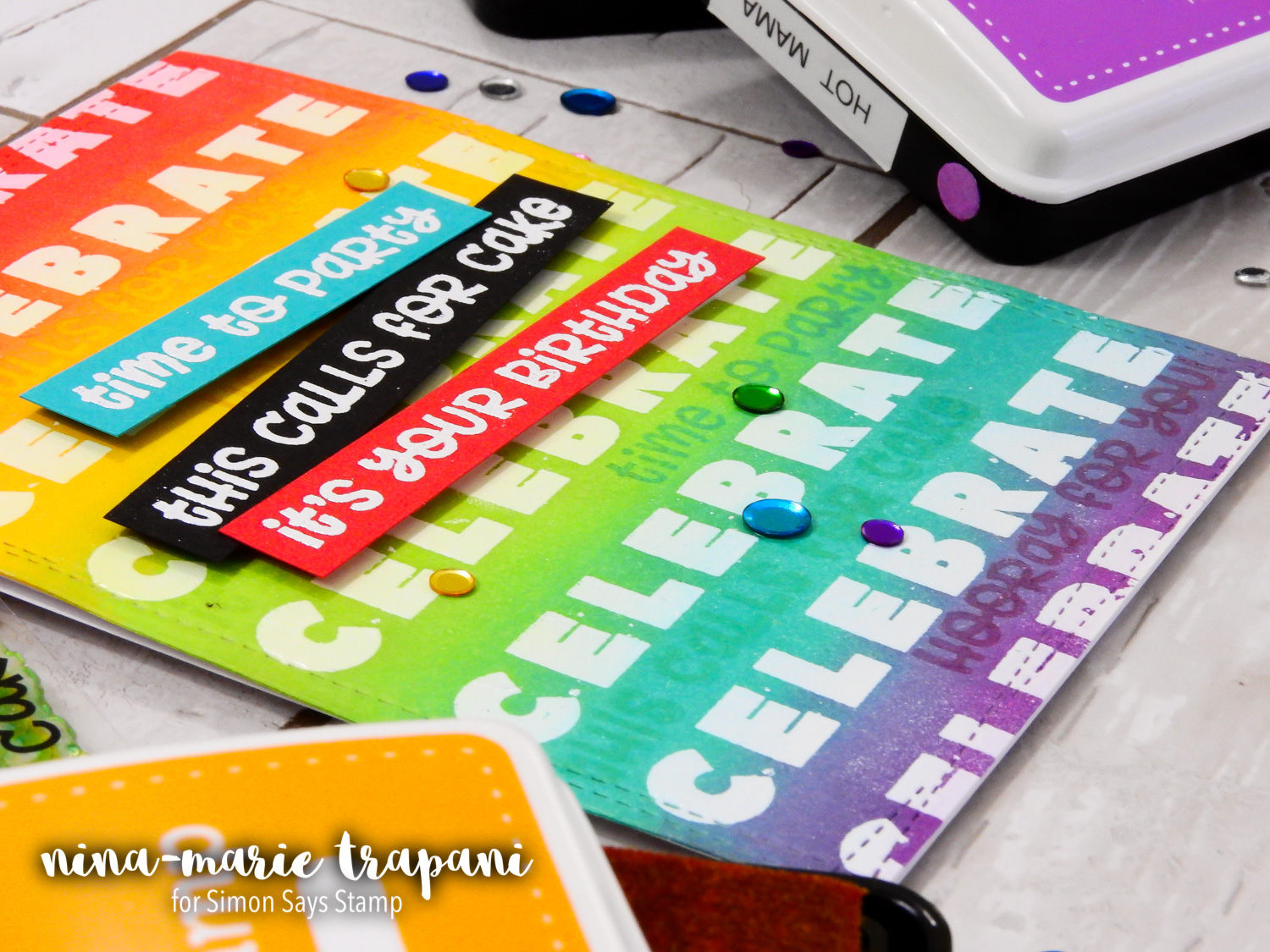 Emboss Resist + Tone on Tone Stamping + Simon's Reverse Confetti STAMPtember Exclusive | Nina-Marie Design