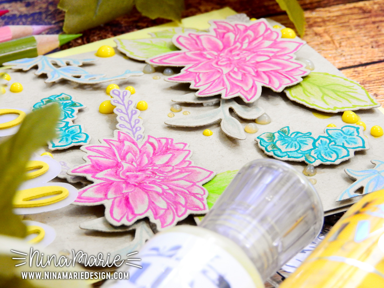 Coloring on Kraft + Dimensional Die Cutting + Altenew Crafty Friends Blog Hop | Nina-Marie Design