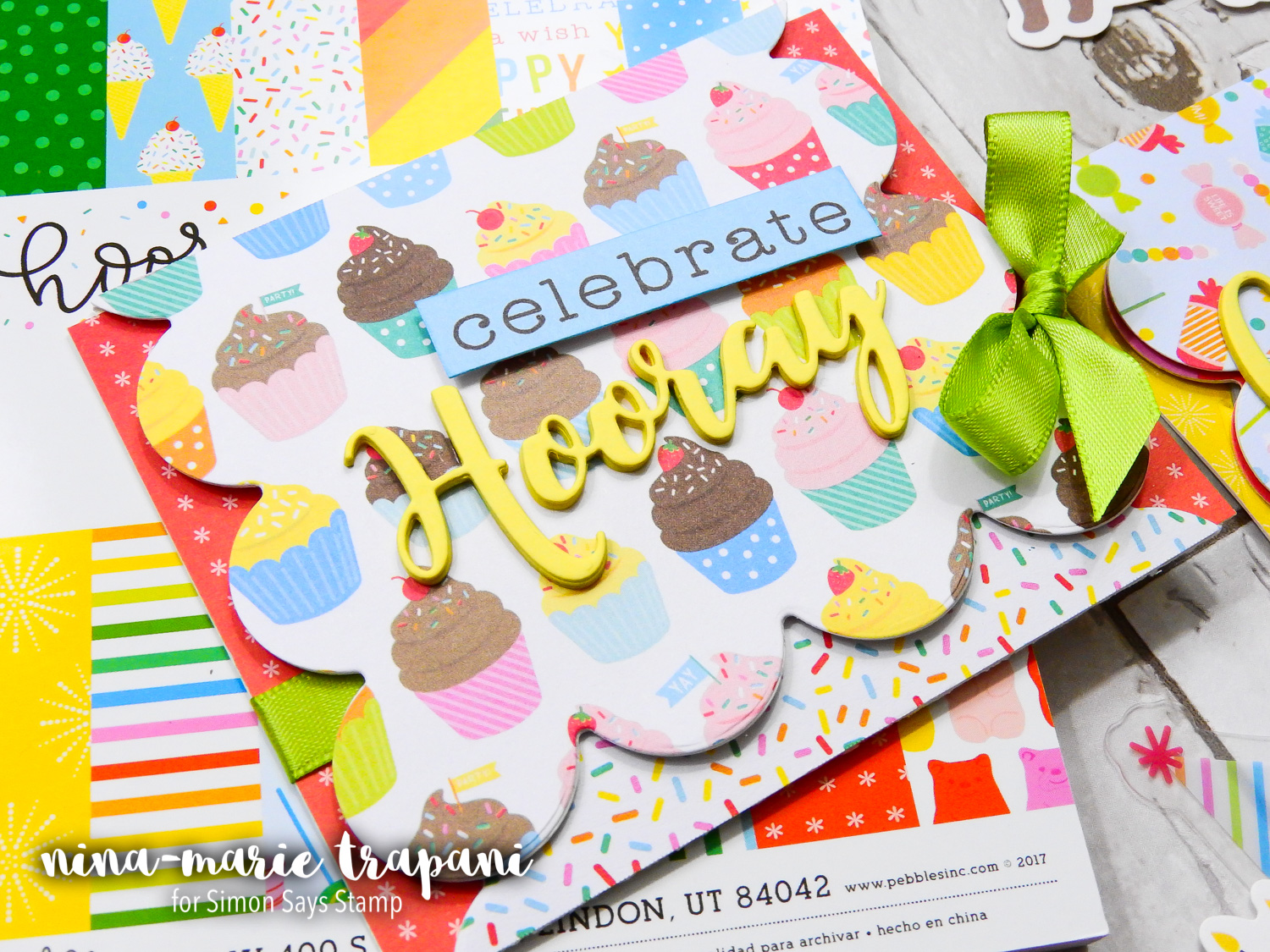 Trifold Cards Featuring Pebbles Happy Hooray Collection | Nina-Marie Design