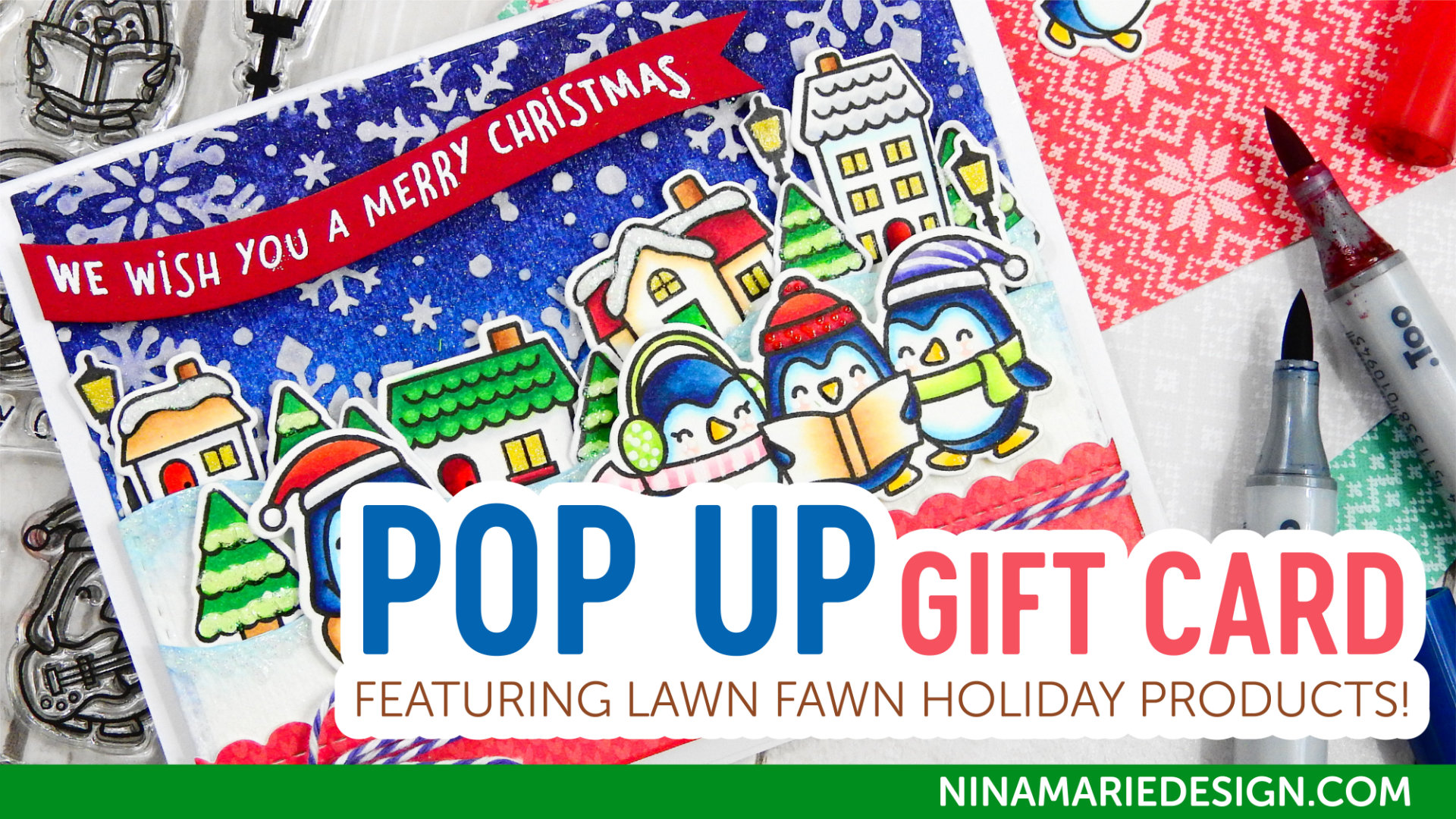 Studio Monday with Nina-Marie: Lawn Fawn Pop Up Holiday Gift Card | Nina-Marie Design