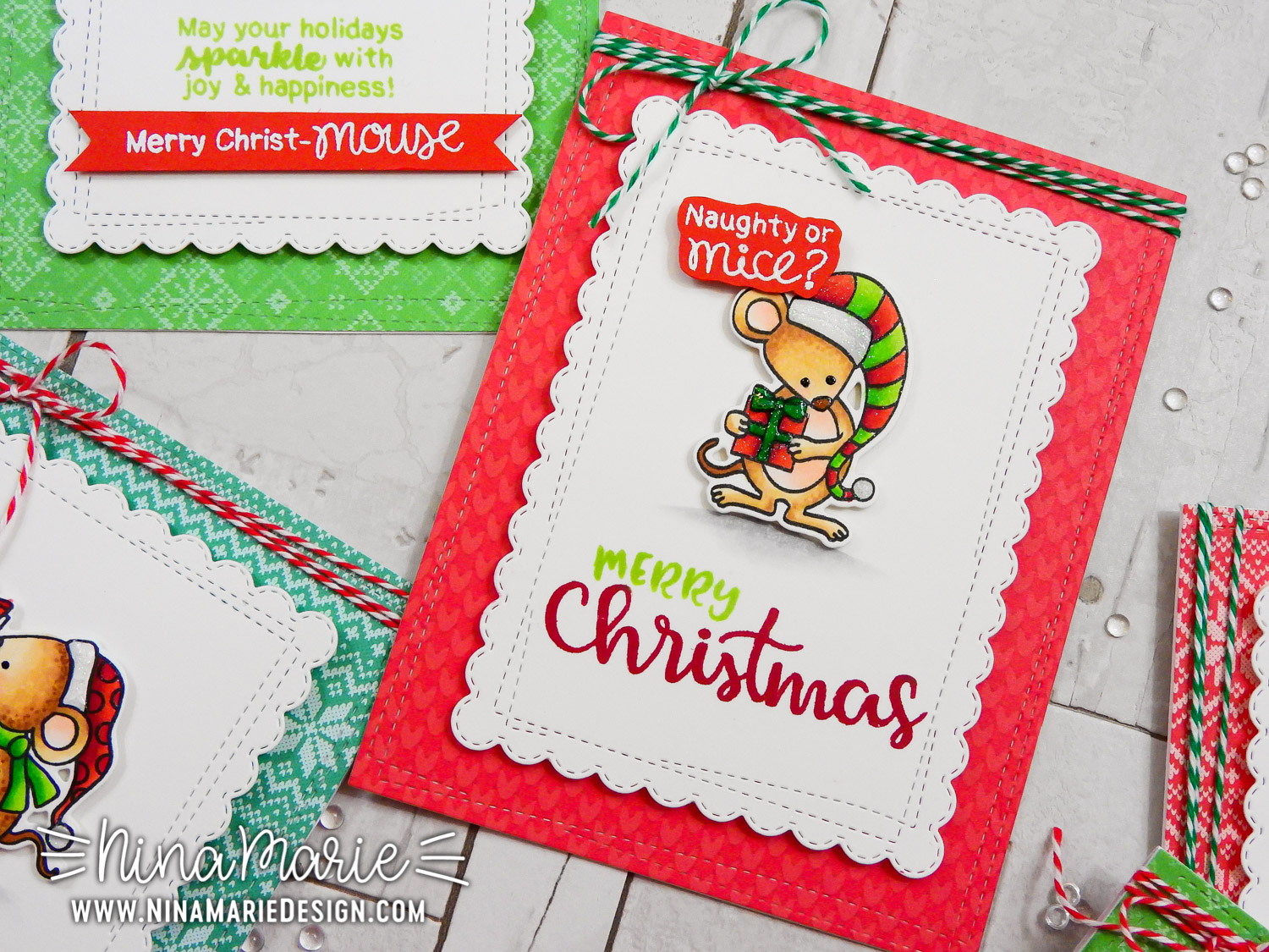 Playful Christmas Cards + Copics + Newton's Nook Inky Paws Blog Hop