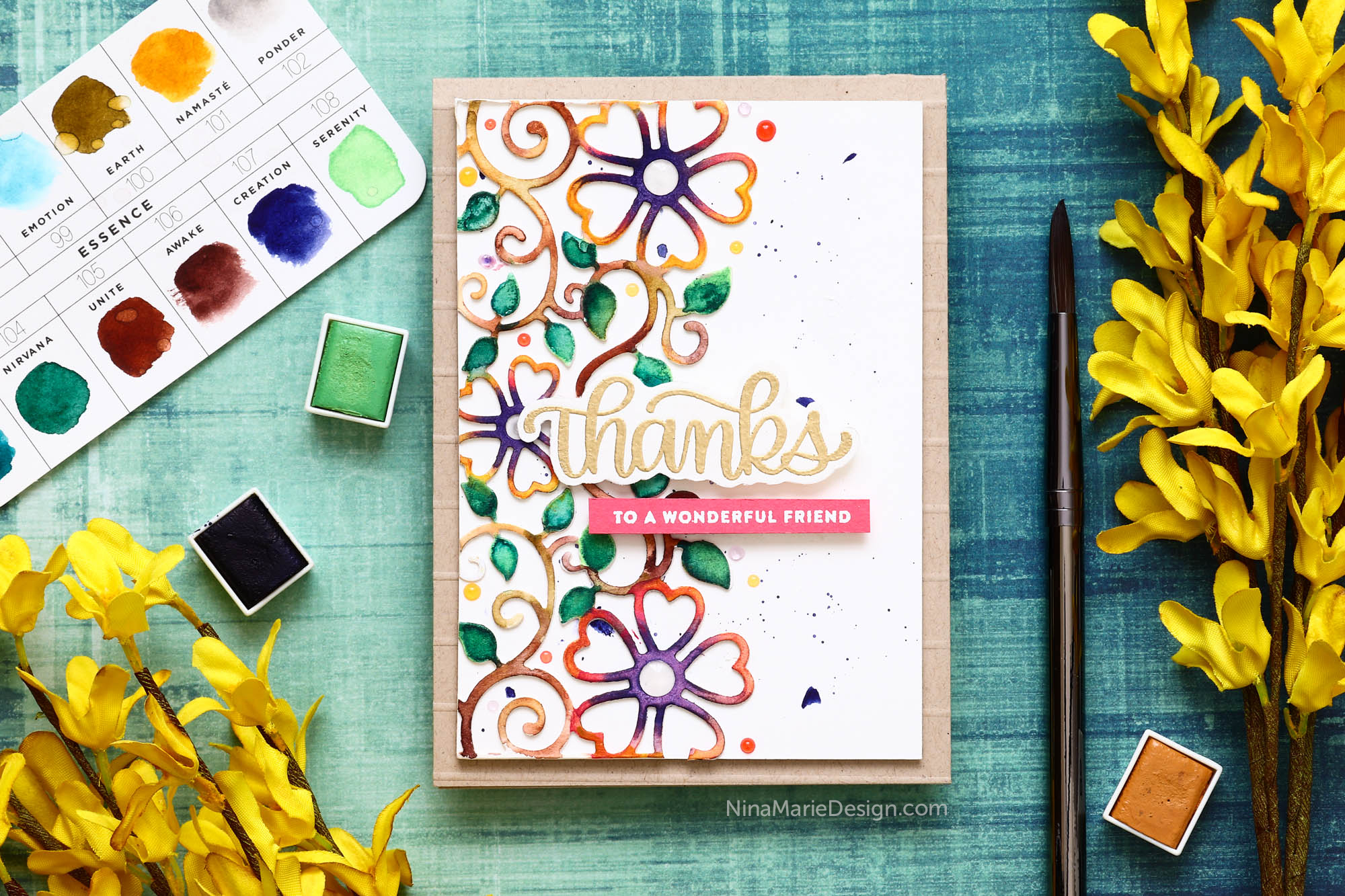 Watercolored Die Cuts + Spellbinders Hop