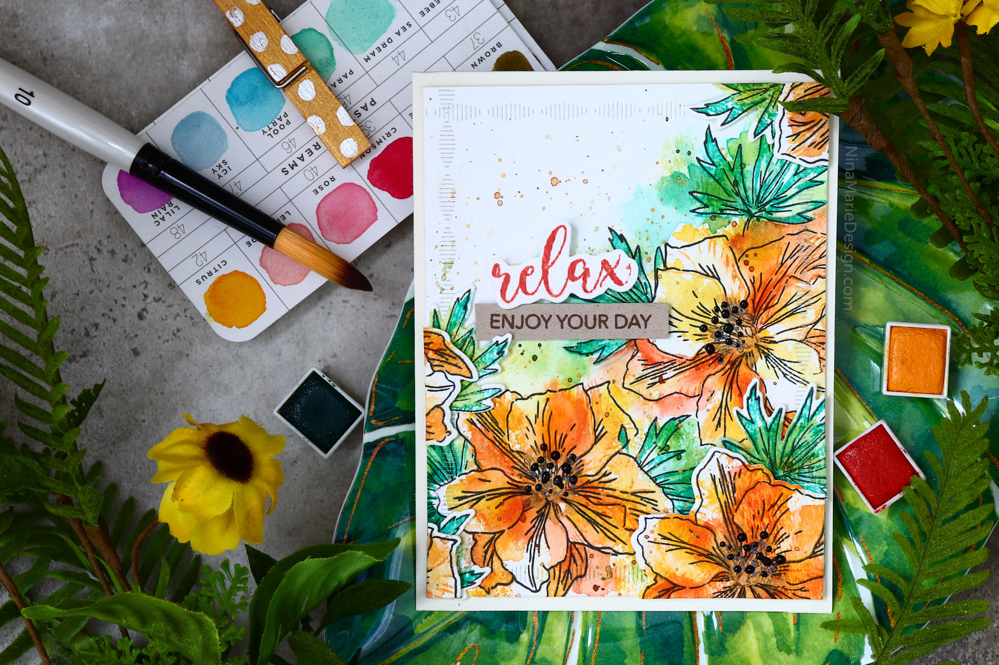 Textured Watercolor + Altenew Larkspur Build-A-Flower Blog Hop