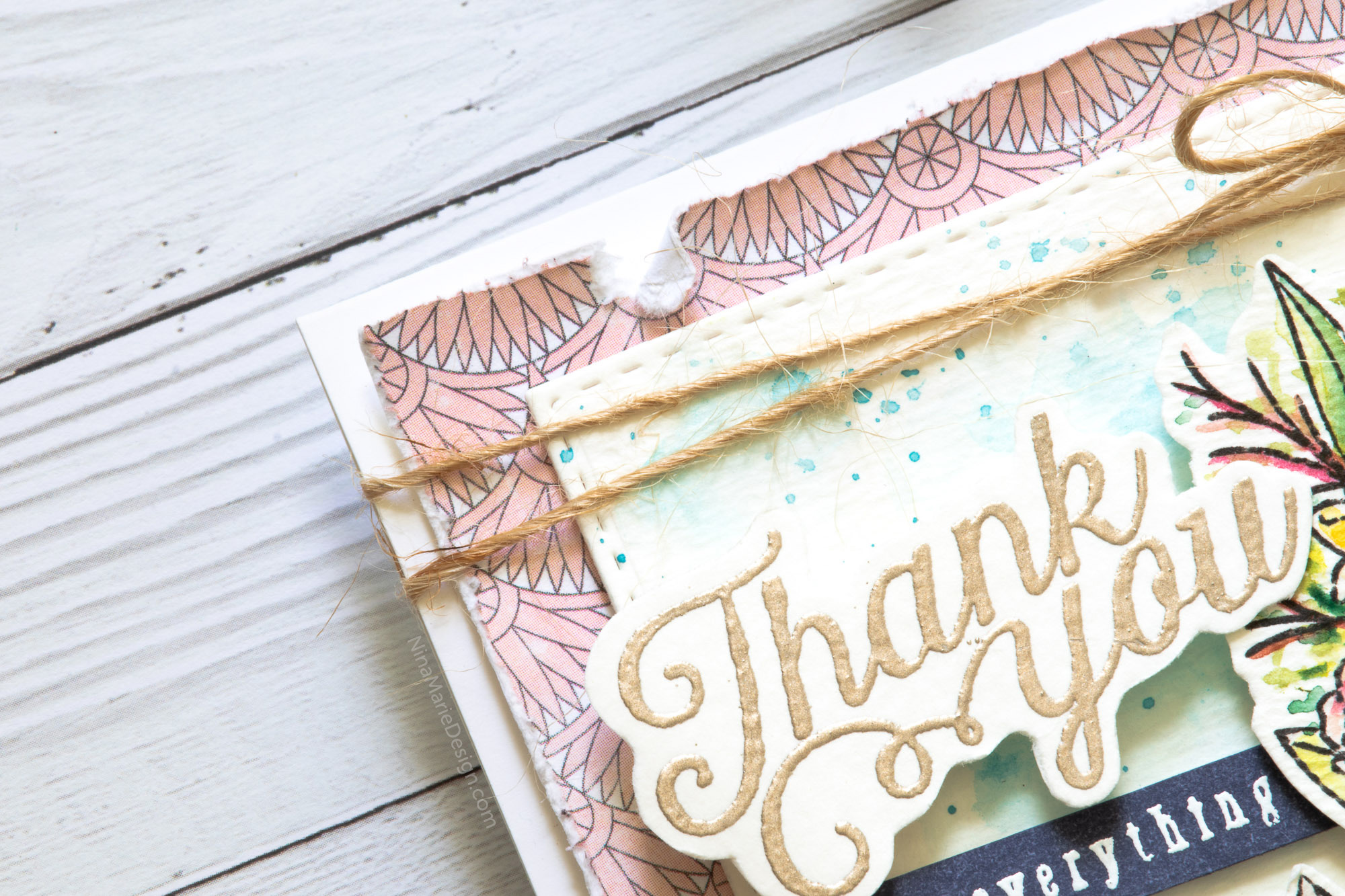 Watercolor Layered Floral Card + Simon's August 2018 Card Kit