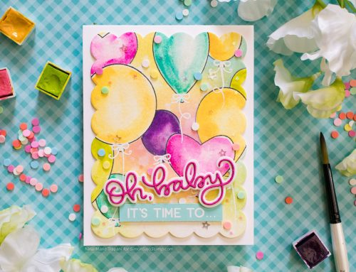 Colorful Watercolored Balloons with Masking + Simon's STAMPtember® Honey Bee Stamps Exclusive
