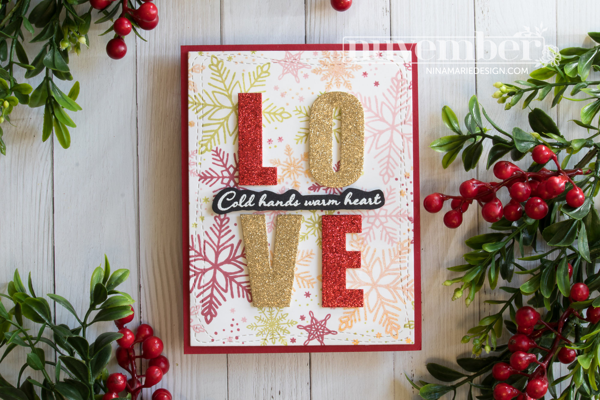 Glittery Christmas Card + Turnabout Stamping