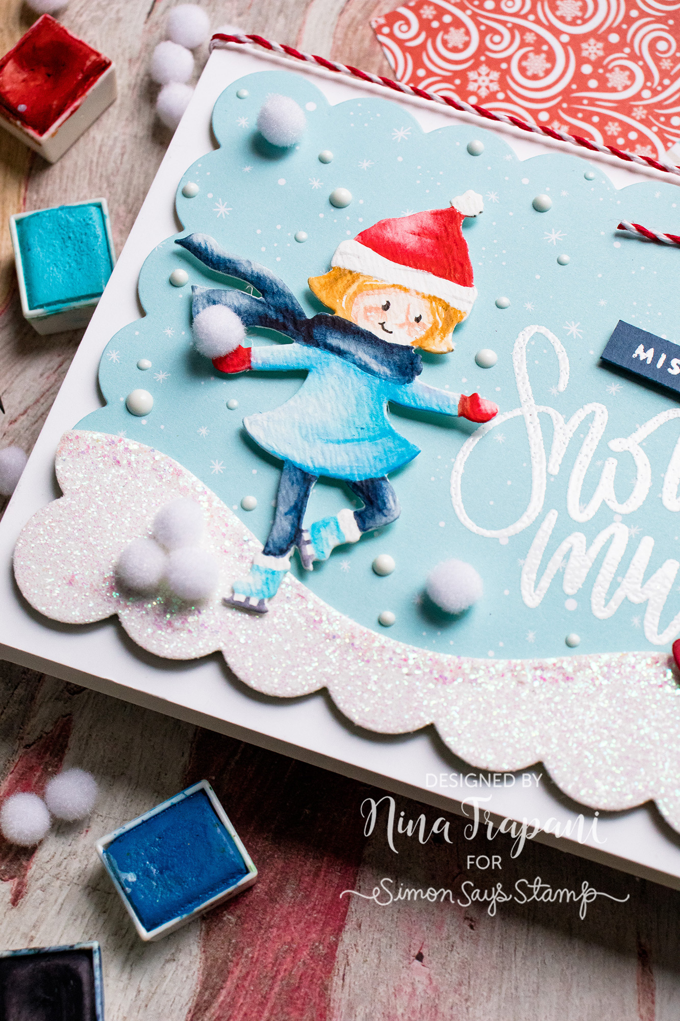 Watercoloring Die Cuts + Simon's January Card Kit Snow Much