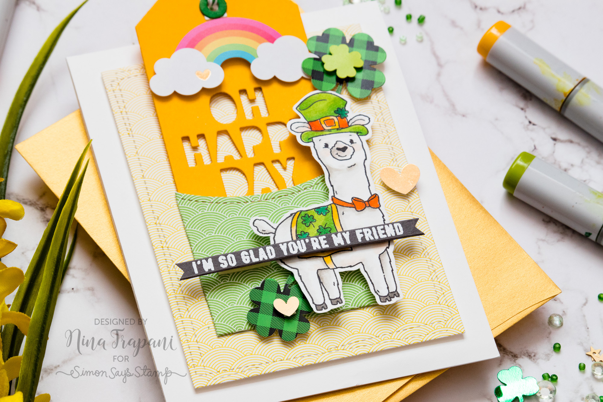 Pull Tab Message + Simon Says Stamp's March 2019 Card Kit