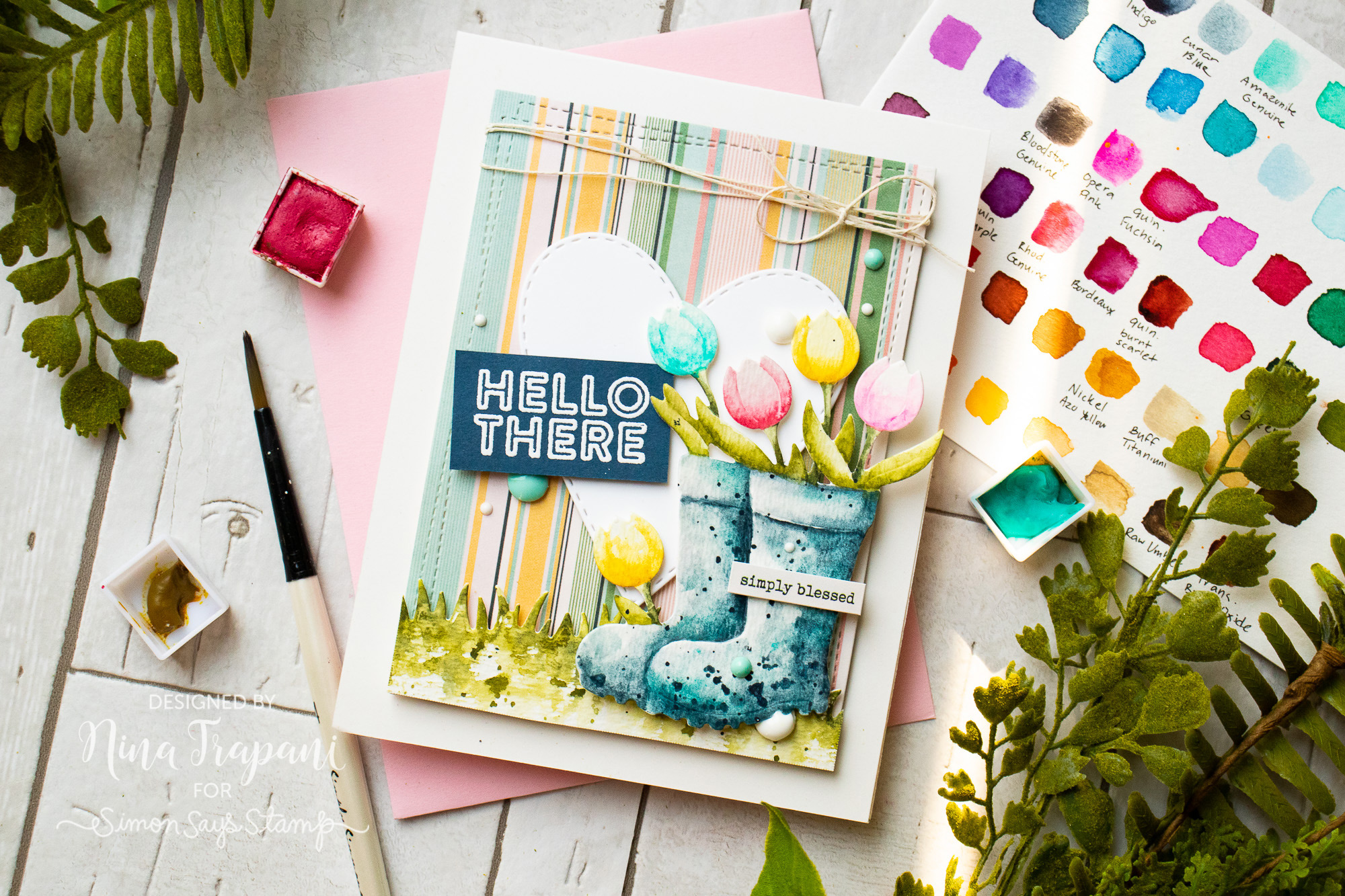Watercoloring Die Cuts + Simon's April 2019 Card Kit
