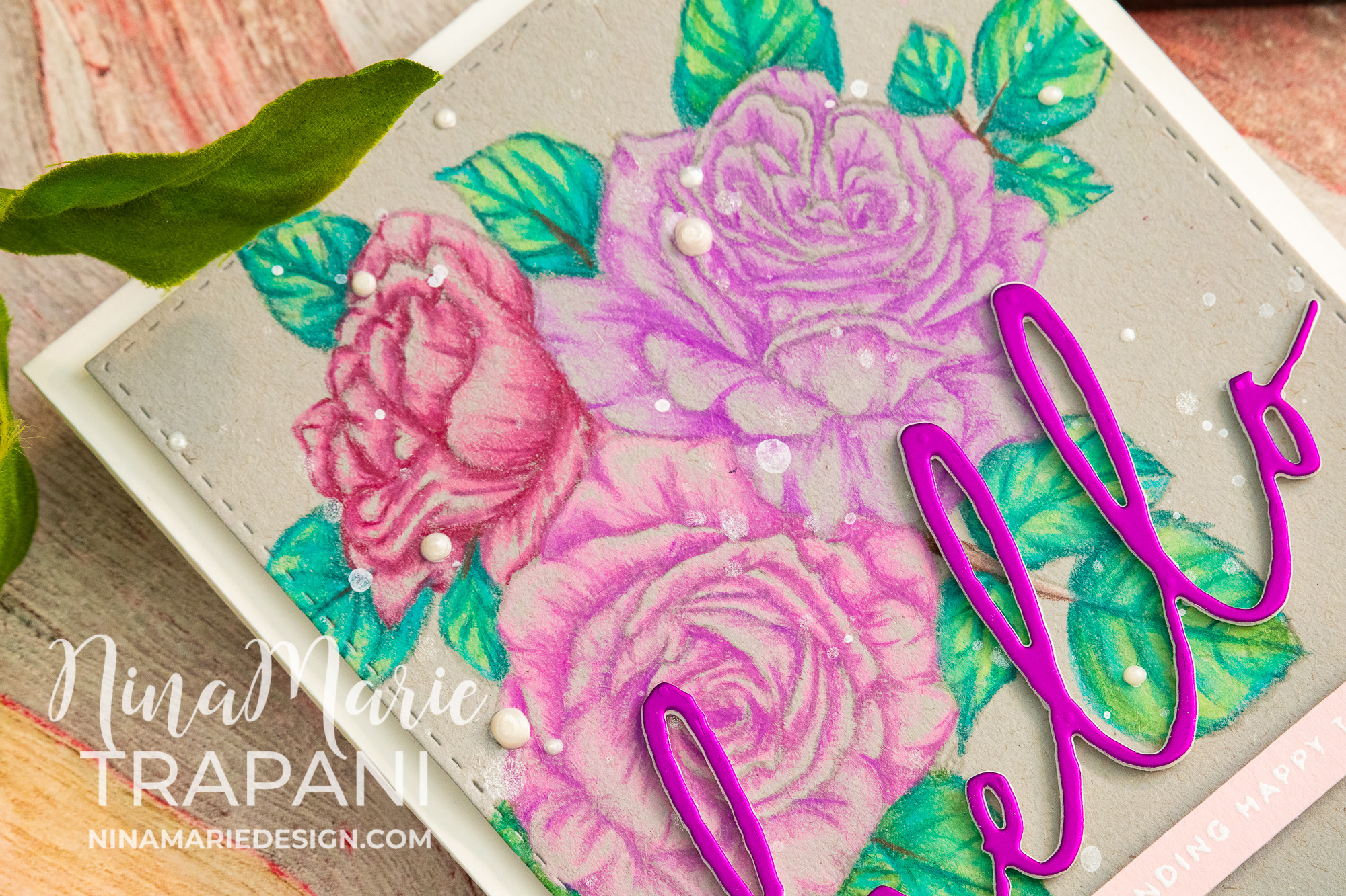 No Line Coloring with Colored Pencils and Picket Fence Stamps | Nina ...