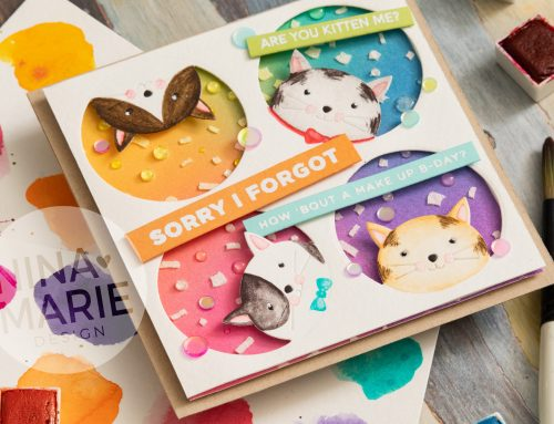 Watercoloring on Die Cuts + Simon's Peeking Cat Die
