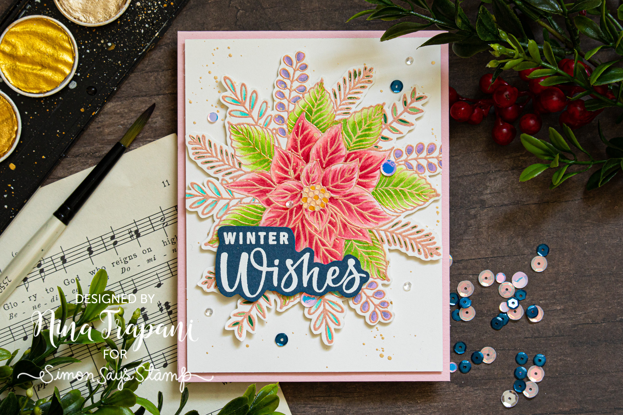 Coloring with Copics Over Embossing Powder + Simon's STAMPtember® Gina K. Designs Exclusive